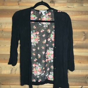 Blu Planet Floral Black Button Up Cardigan